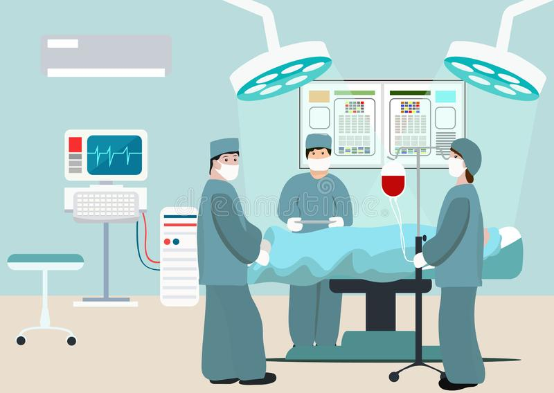 Vector Illustration of operating room. Surgeon team at work in operating room. Medical surgery flat composition with. Doctors and patient. Surgeons in operation vector illustration