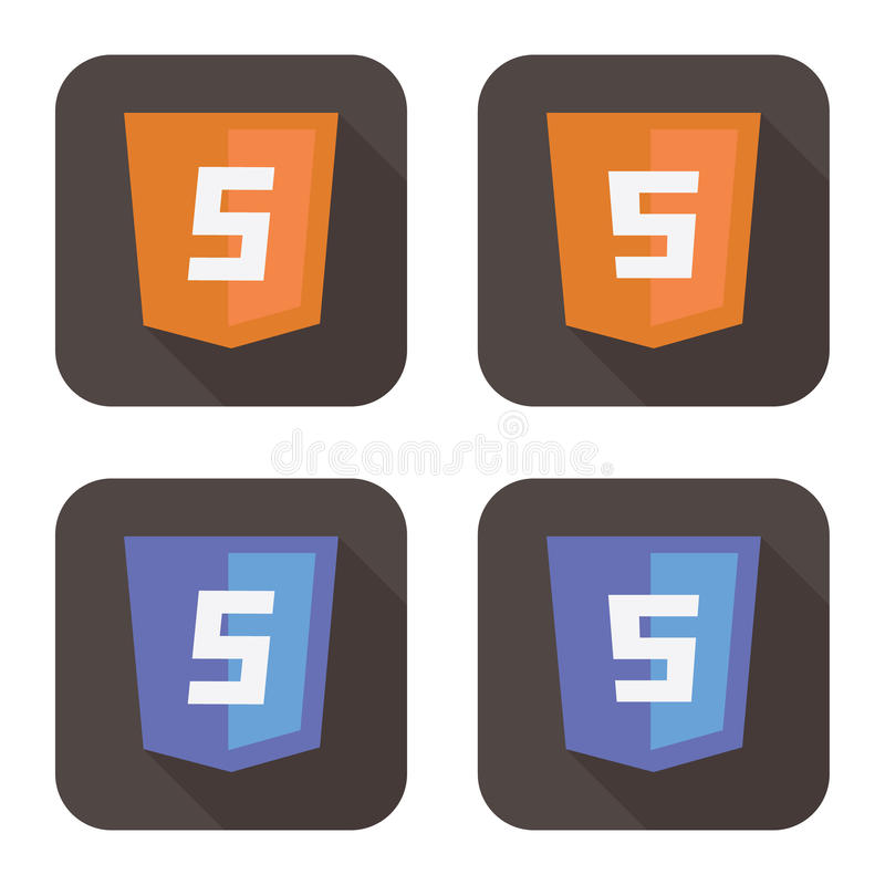 Vector illustration of orange and blue html shield. Vector illustration of orange and blue shield with html five sign on the screen, web site development icon vector illustration