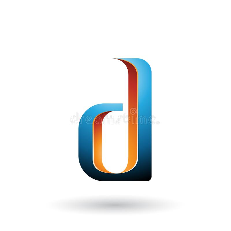 Orange and Blue Shaded Letter D isolated on a White Background vector illustration