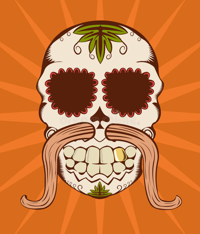 Vector illustration of orange sugar skull royalty free illustration