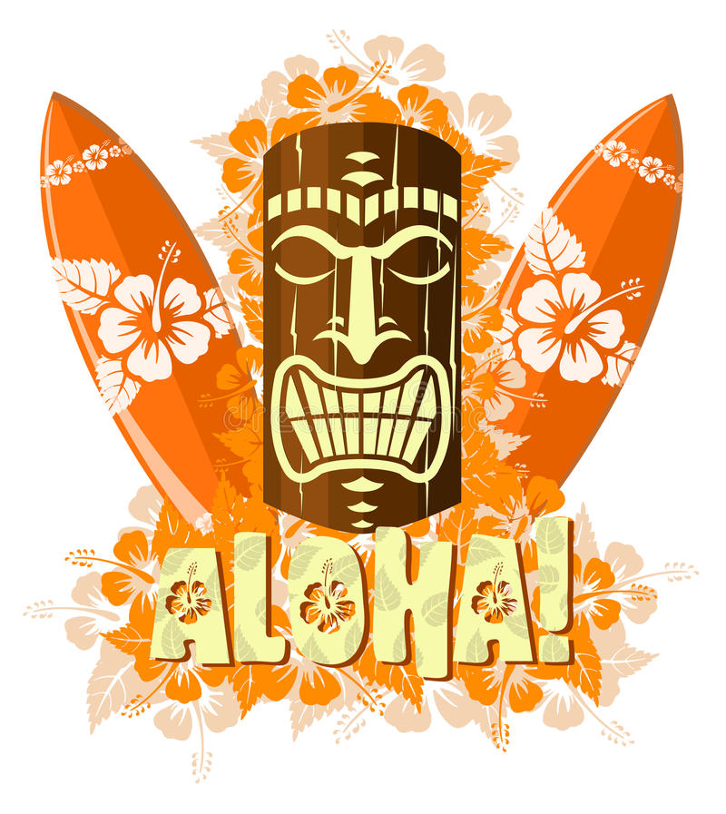 Vector illustration of orange tiki mask royalty free illustration