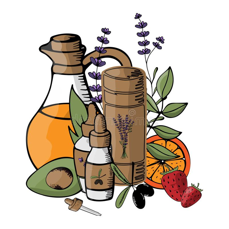 Vector illustration with organic cosmetics subjects. Natural oil royalty free illustration