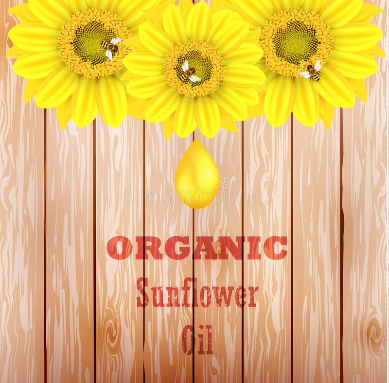 Vector illustration of an organic sunflower oil with a golden drop and yellow flower on a brown wooden background. Ready objects, stock photos