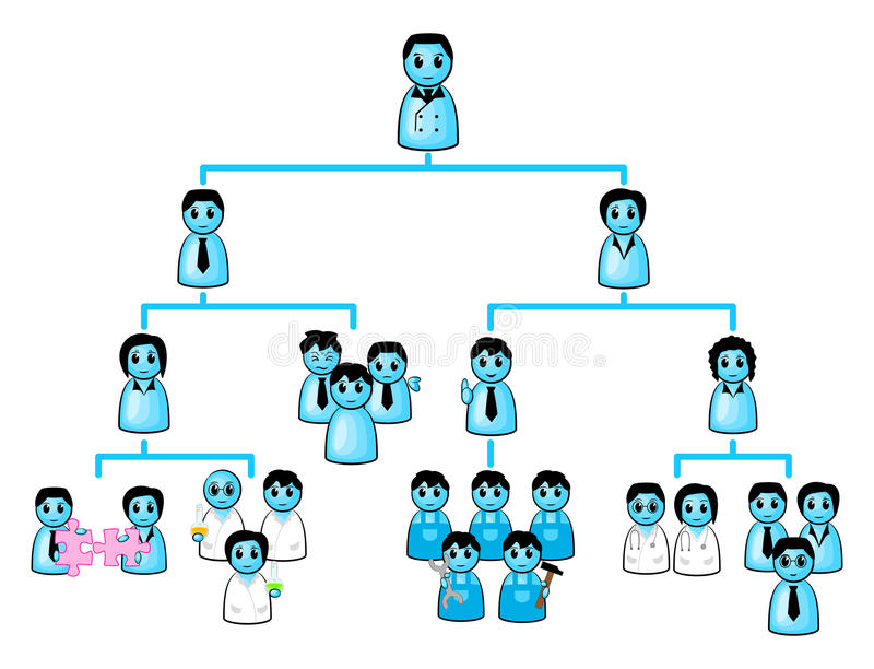 Organization chart of a company. Vector illustration of a organization chart of a company royalty free illustration