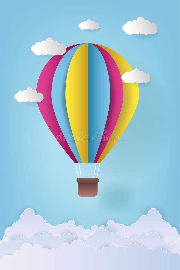 Vector Illustration Origami Bunte Heißluftballon und Wolke Papierkunst und Kunsthandwerk stockfotos