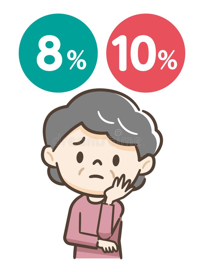 Senior woman suffering from tax rate. Vector illustration.Original paintings and drawing vector illustration