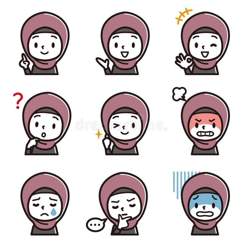 Set of girl`s facial illustration.Arabic girl`s character vector illustration