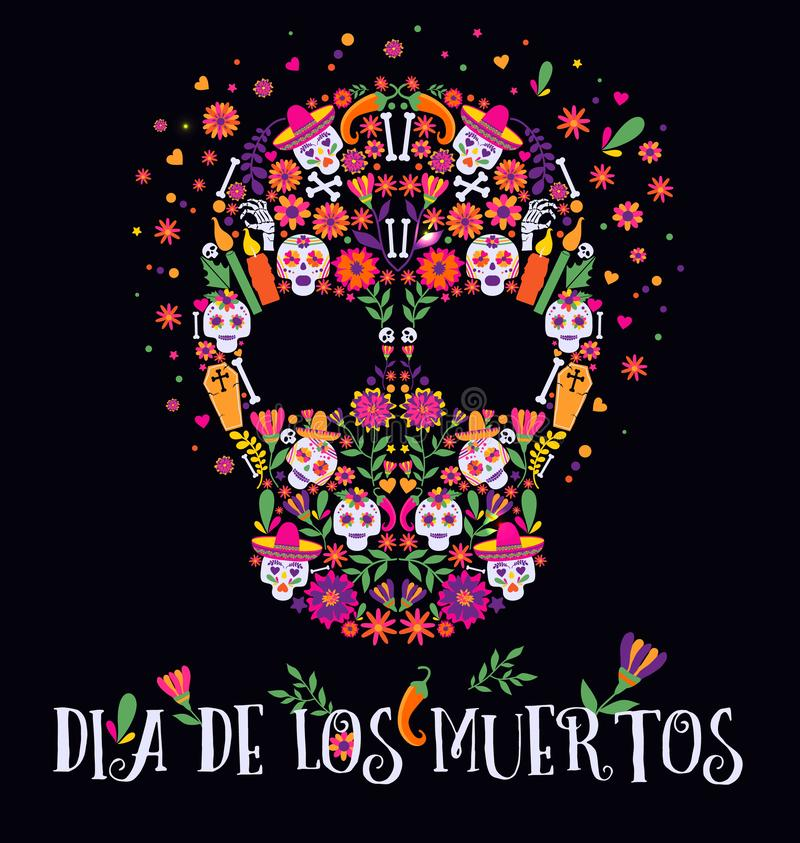 Vector illustration of an ornately decorated Day of the Dead Dia de los Muertos skull, or calavera. Vector illustration of an ornately decorated Day of the Dead royalty free illustration