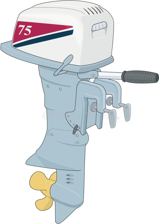 Outboard Motor Vector Illustration. A vector illustration of an outboard motor for a boat stock illustration