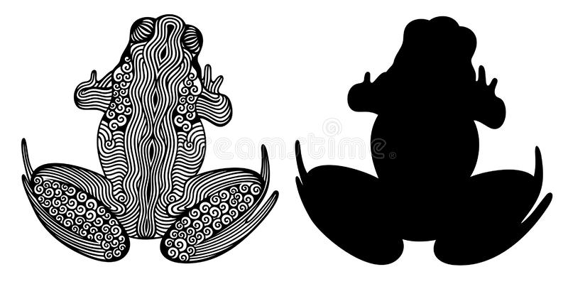 Vector illustration of outline decorative zentangle frog and frogs silhouette in black color isolated on white background. vector illustration
