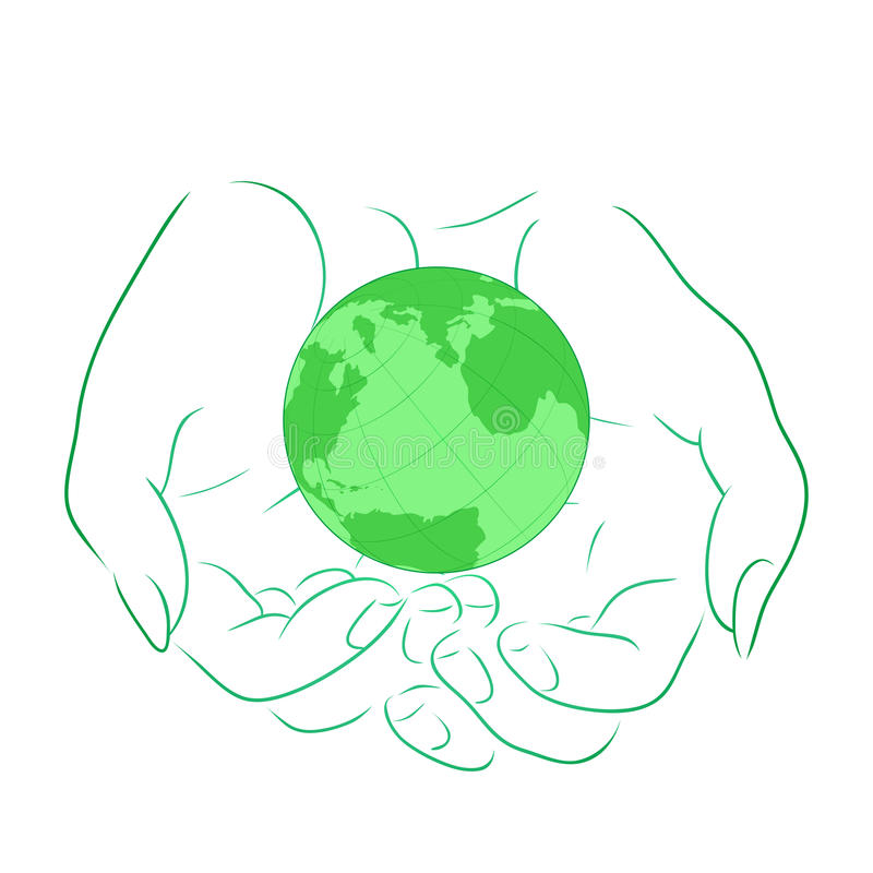 Vector illustration with the outline of female hands with planet stock illustration