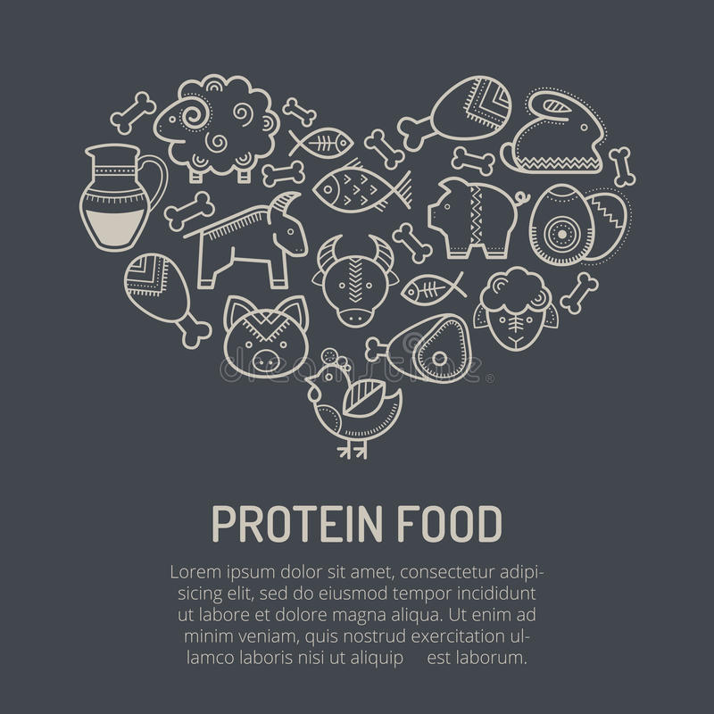 Vector illustration with outlined food icons forming a heart shape stock illustration