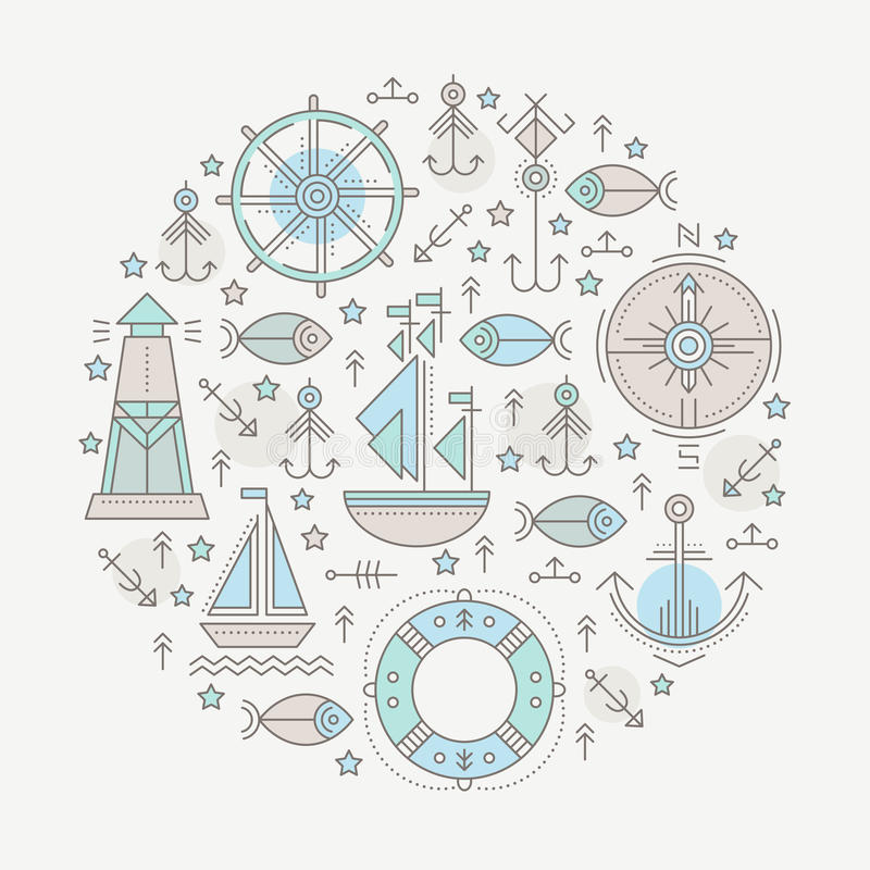Vector illustration with outlined nautical seafaring signs and marine animals stock illustration