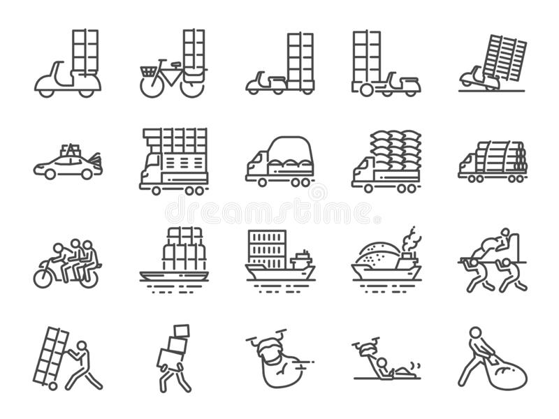 Overweight transport line icon set. Included icons as shipping, delivery, heavy, truck, trailer and more. stock illustration