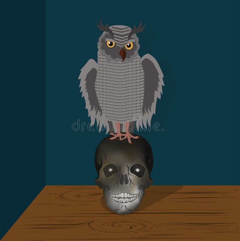 Vector illustration of Owl on skull royalty free stock image