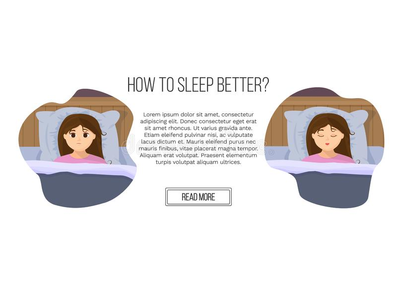 Vector illustration of page site in flat cartoon style with sad sleepless woman and sleeping girl in bed. Female insomniac trying to fall asleep. Problem of vector illustration