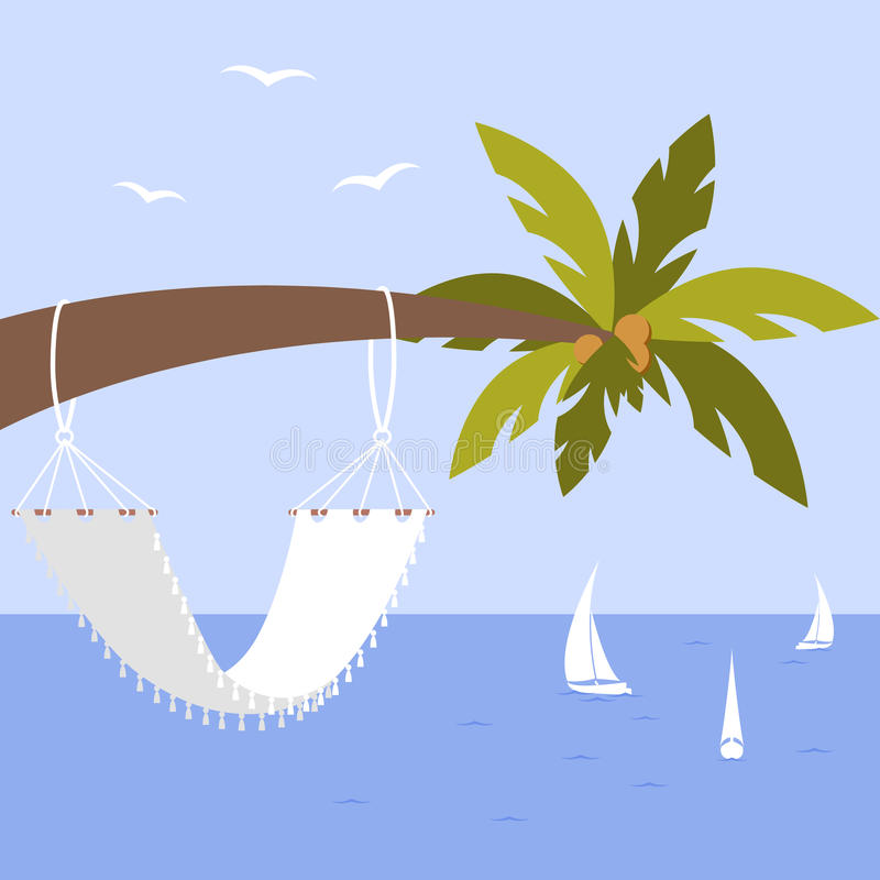Vector illustration with palm tree, hammock and yacht, seagulls vector illustration