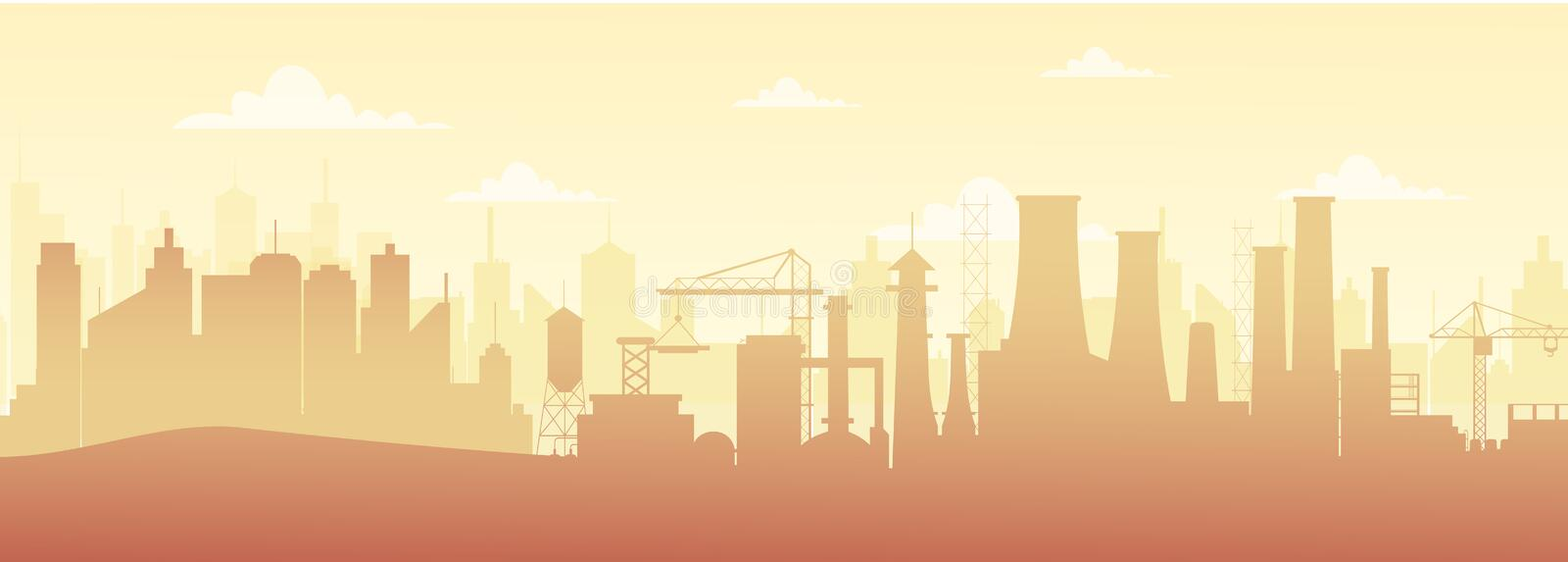 Vector illustration of panoramic industrial silhouette landscape with factory buildings and pollution in flat style. Vector illustration of panoramic industrial royalty free illustration