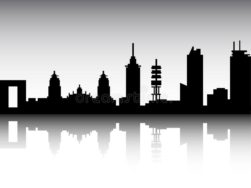Panoramic Silhouette Skyline of Mexico City Mexico royalty free illustration