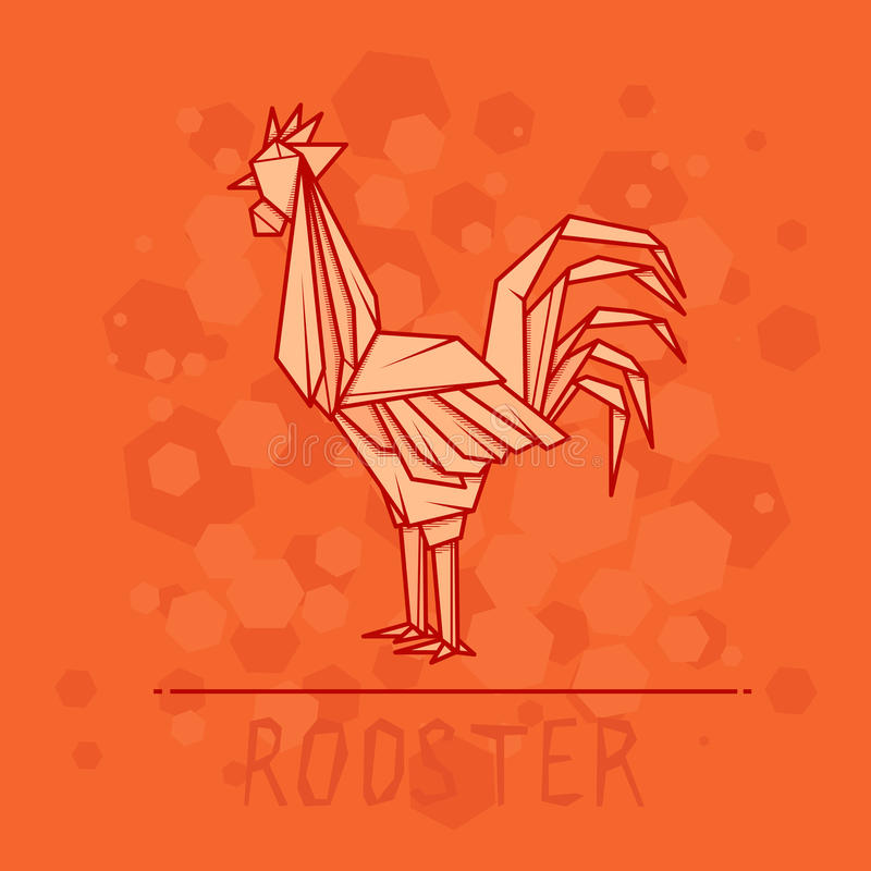 Vector illustration paper origami of rooster. stock illustration