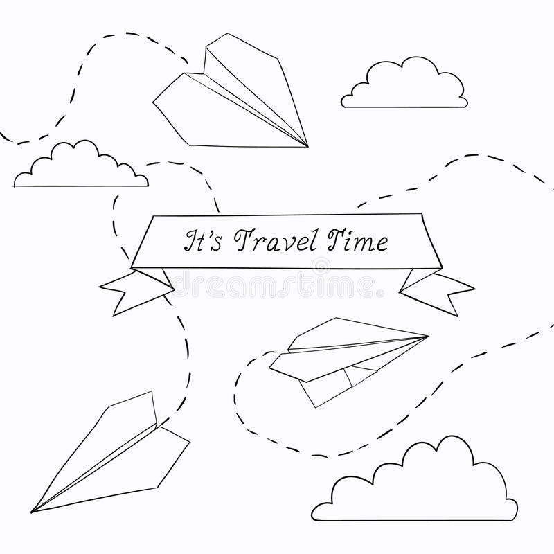 Vector illustration with paper plane royalty free stock images