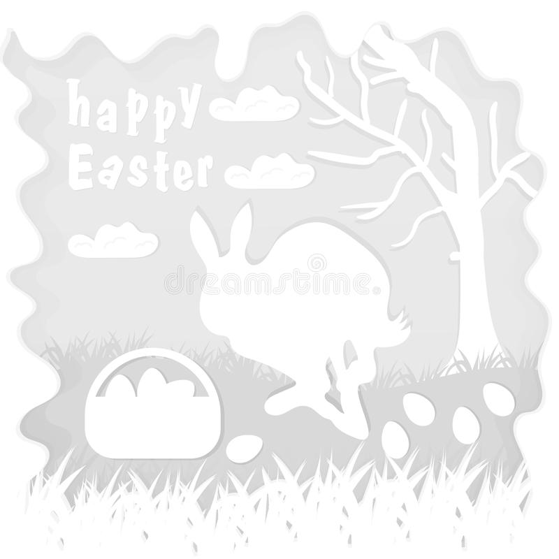 Illustration in paper_1_style on the theme of Easter celebration little rabbit sitting on the lawn next to a basket of eggs near. Vector illustration in paper vector illustration