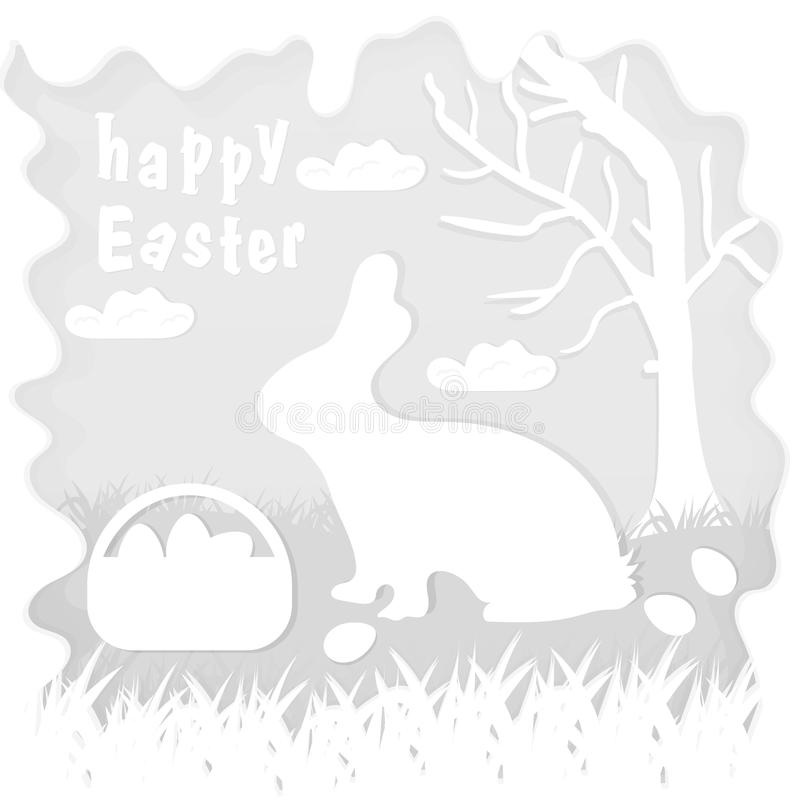 Illustration in paper_3_style on the theme of Easter celebration little rabbit sitting on the lawn next to a basket of eggs near. Vector illustration in paper vector illustration