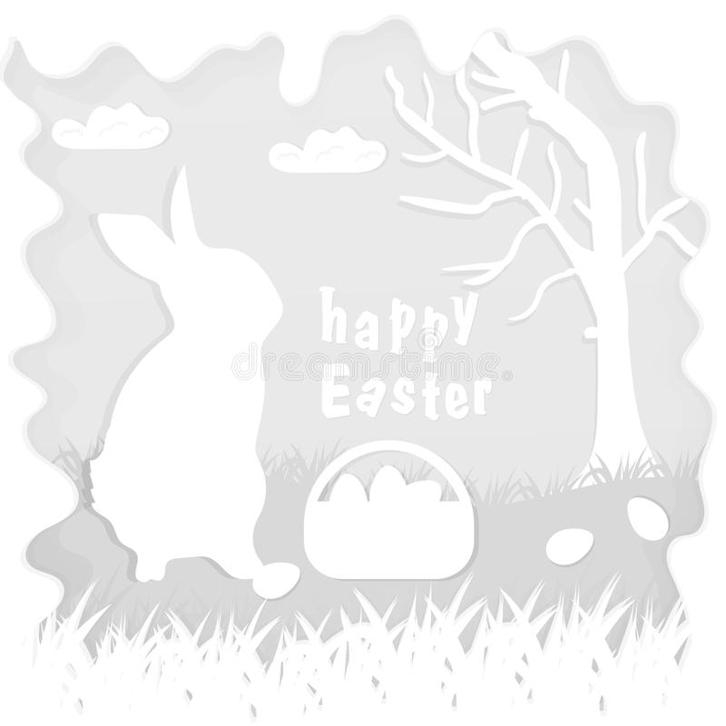 Illustration in paper_4_style on the theme of Easter celebration little rabbit sitting on the lawn next to a basket of eggs near. Vector illustration in paper stock illustration