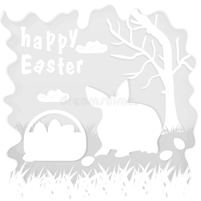Illustration in paper_5_style on the theme of Easter celebration little rabbit sitting on the lawn next to a basket of eggs near. Vector illustration in paper stock illustration