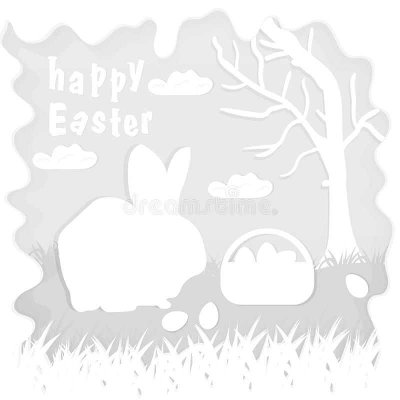 Illustration in paper_2_style on the theme of Easter celebration little rabbit sitting on the lawn next to a basket of eggs near. Vector illustration in paper vector illustration