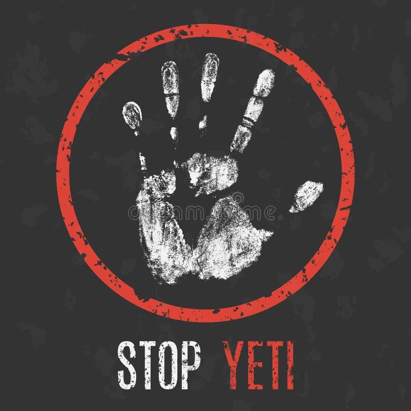 Vector. Paranormal phenomenon. Stop yeti. stock illustration