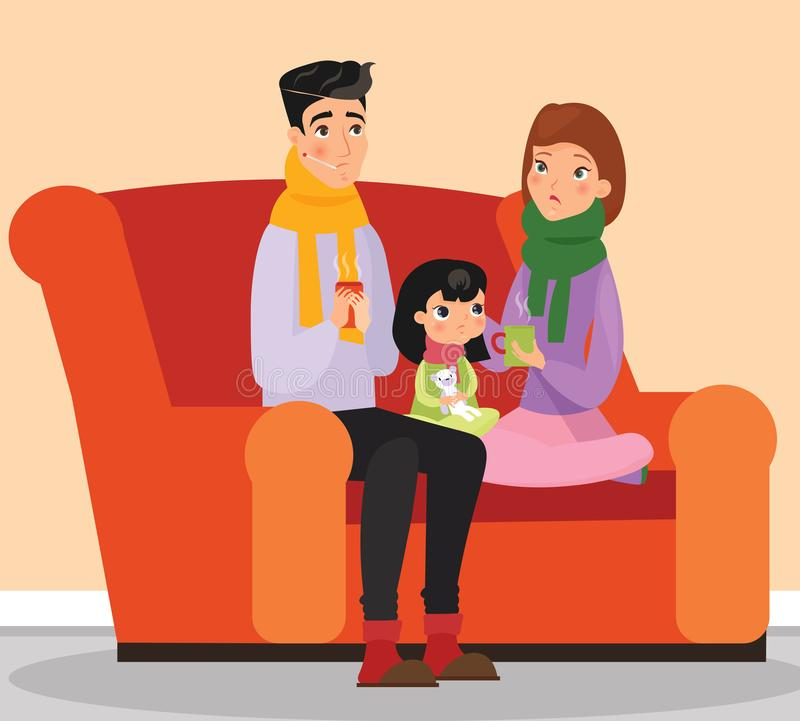 Vector illustration of parents and kid with flu and cold, sad family, sickness. Cold and flu concept. Sick family vector illustration