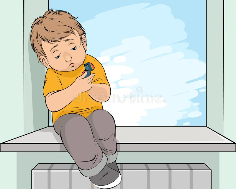 Parting a boy with bird stock illustration