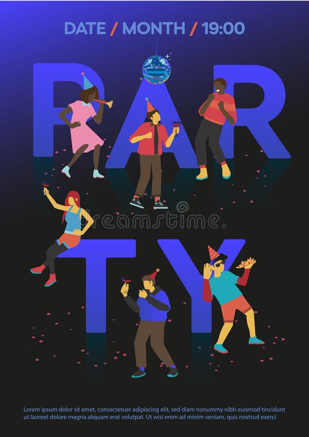 Vector illustration of party invitation template with dancing and having fun young people. vector illustration