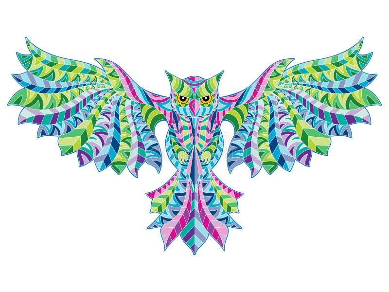 Vector Illustration Patterned Owl stock illustration