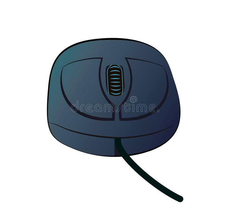 Vector illustration of pc mouse. Vector illustration, cartoon gray computer mouse with a wheel isolated on white background stock illustration