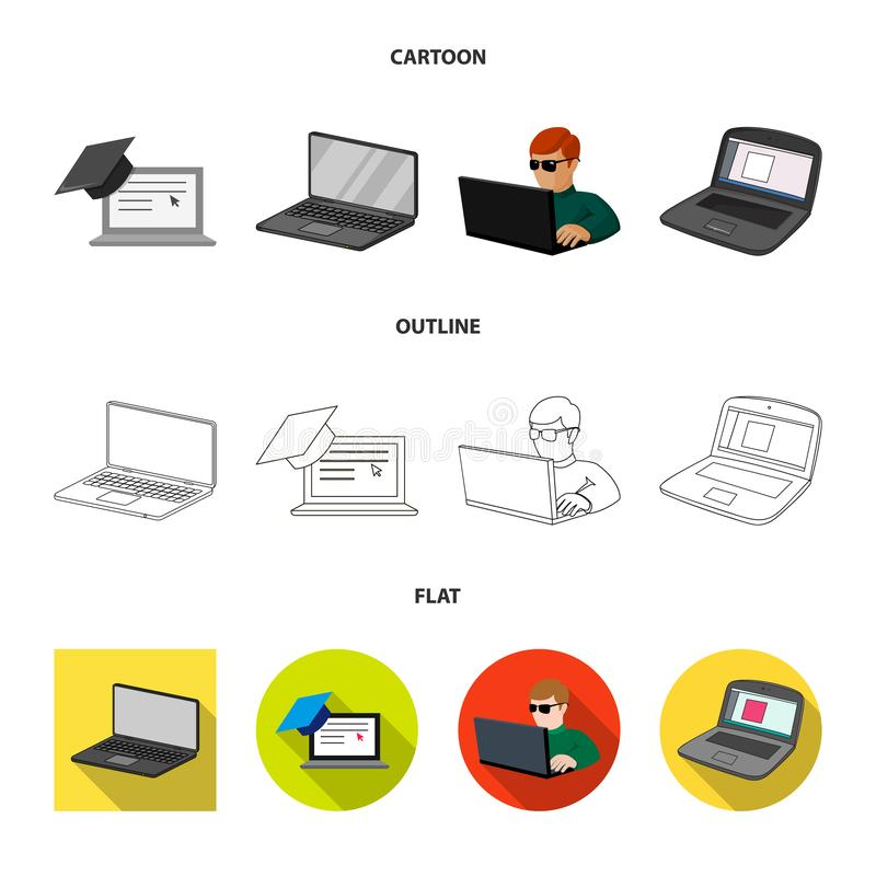 Vector design of pc and screen sign. Set of pc and monitor stock vector illustration. Vector illustration of pc and screen logo. Collection of pc and monitor royalty free illustration
