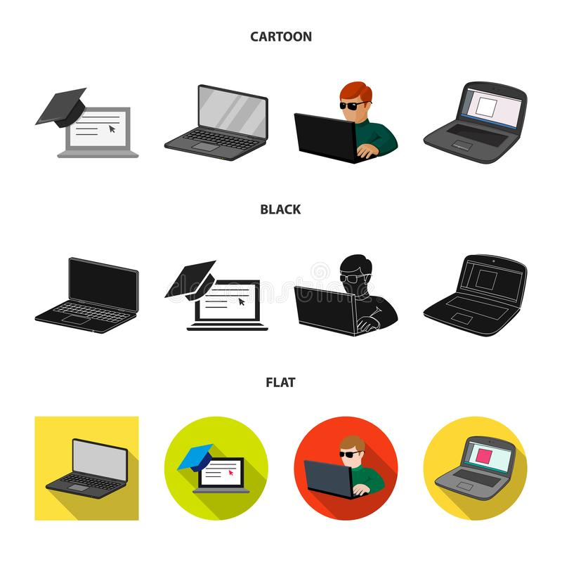 Vector design of pc and screen sign. Collection of pc and monitor stock symbol for web. Vector illustration of pc and screen logo. Set of pc and monitor stock stock illustration