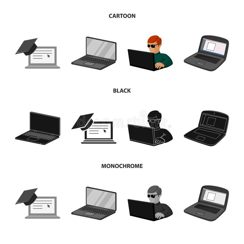 Vector design of pc and screen symbol. Collection of pc and monitor vector icon for stock. Vector illustration of pc and screen sign. Set of pc and monitor royalty free illustration