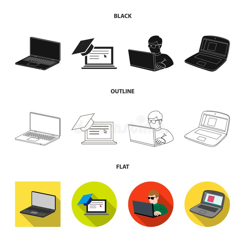 Vector illustration of pc and screen symbol. Set of pc and monitor stock vector illustration. Isolated object of pc and screen sign. Collection of pc and stock illustration