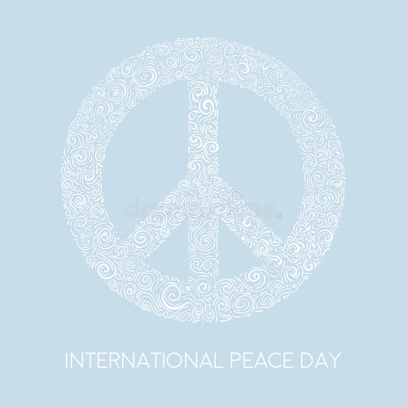 Vector Illustration Of Peace Sign On Blue Background. Template For ...