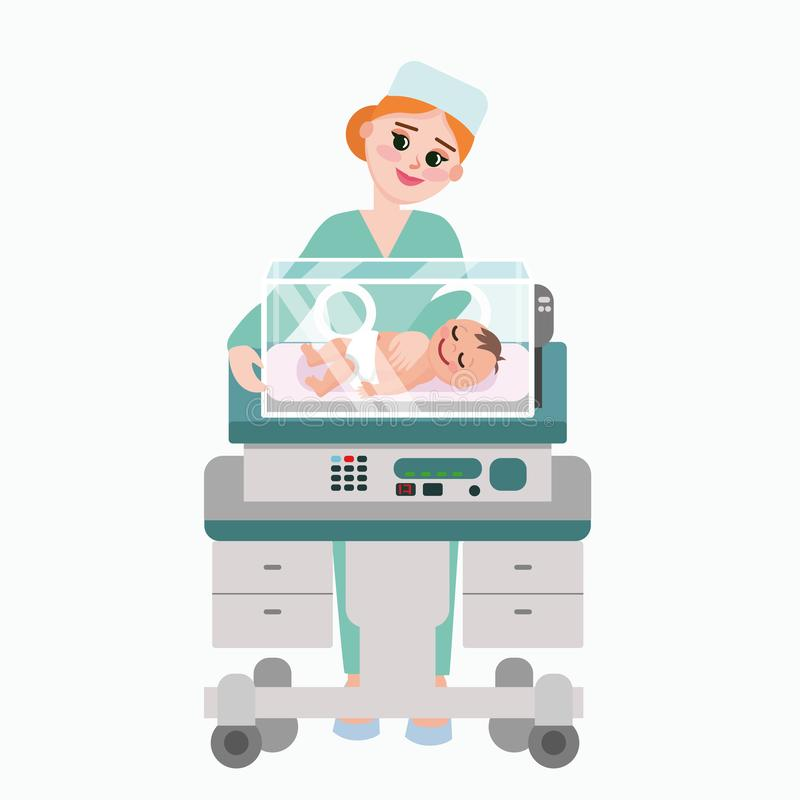 Vector illustration of pediatrician doctor with baby. Nurse examining newborn kid inside incubator box. Child care stock illustration