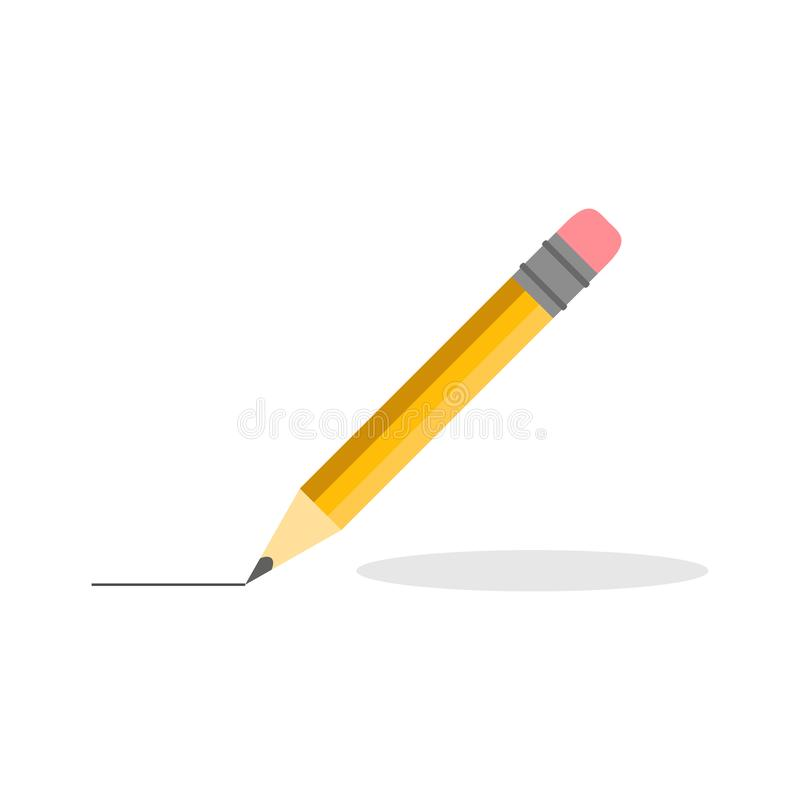 Vector illustration. Pencil icon with line in flat design. Pencil on white background with shadow. Pencil trace. eps10 stock illustration