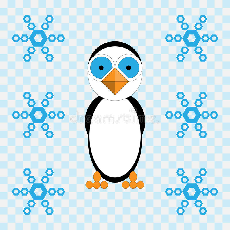 Vector illustration of penguin and snowflakes stock photos