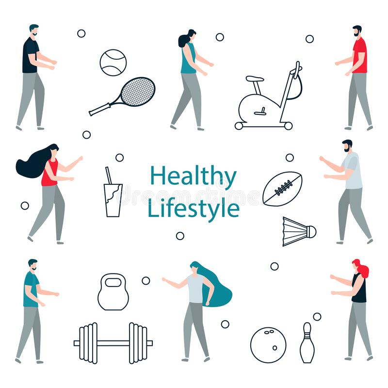 People. Sport. Fitness app. Healthy lifestyle. Vector illustration with people, exercise bike, american football ball, bowling, tennis, badminton  equipment royalty free illustration