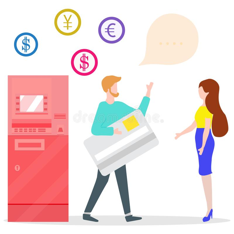 ATM, man with bank card, woman. Personal finance. Vector. Vector illustration with people near ATM. Man with bank card, female assistant helping clients stock illustration