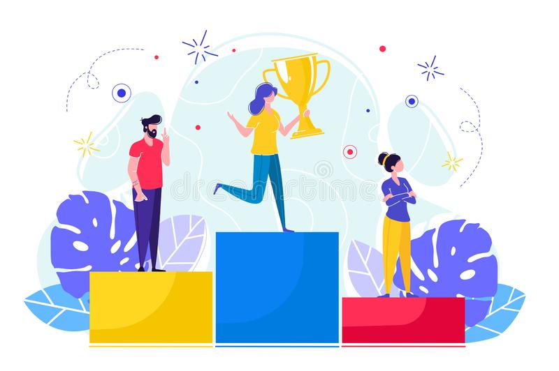 People stand on podium vector illustration