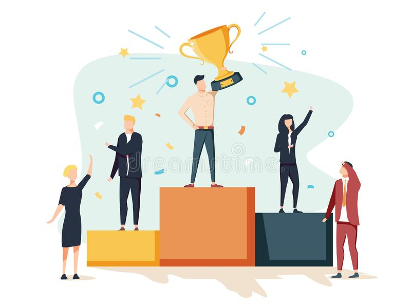 Vector illustration. people stand on the podium first, second an stock illustration