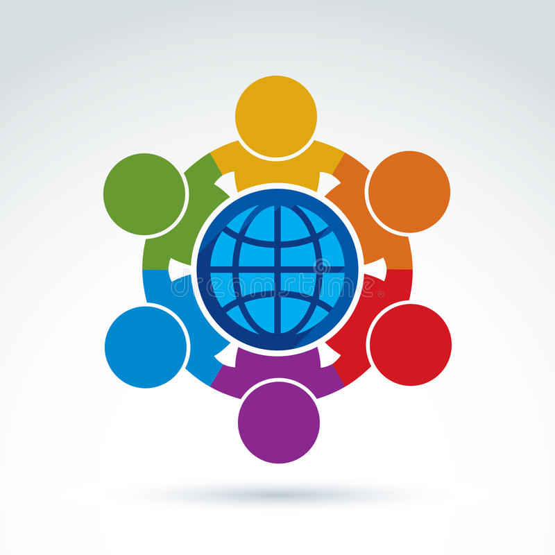 Vector illustration of people standing around a globe sign, management team. Global business branding conceptual icon. Earth vector illustration
