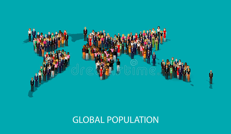 Vector illustration of people standing on the world global map shape. infographic global population concept. Vector flat illustration of people standing on the royalty free illustration
